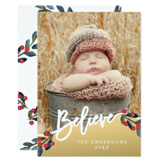 Gold Believe Hand Lettered Berries Holiday Photo Card