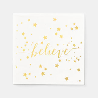 Gold Believe Handwriting 2 | Holiday Paper Napkins