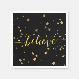 Gold Believe Handwriting 3 | Holiday Paper Napkins Standard Cocktail Napkin