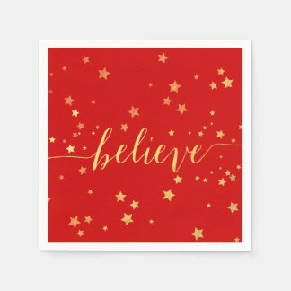 Gold Believe Handwriting 4 | Holiday Paper Napkins Standard Cocktail Napkin