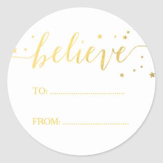Gold Believe Handwriting | Holiday Gift Tag Round Sticker