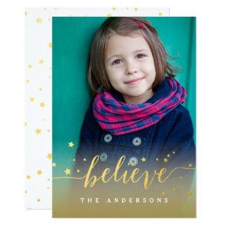 Gold Believe Handwriting Script Holiday Photo Card