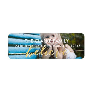 Gold Believe | Holiday Photo Address Label