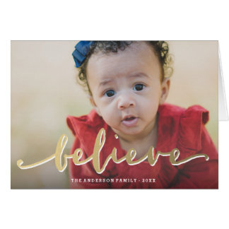 Gold Believe | Holiday Photo Greeting Card