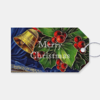 Gold Bell and Red Holly Berries Vintage Christmas Pack Of Gift Tags