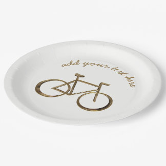 Gold Bike Bicycle Cycling Cyclist Elegant Paper Plate