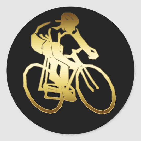 GOLD BIKE RIDER CLASSIC ROUND STICKER