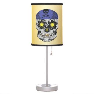 Gold Biker Candy Skull Lamp