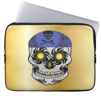 Gold Biker Candy Skull Laptop Sleeve