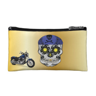 Gold Biker Candy Skull Makeup Bag