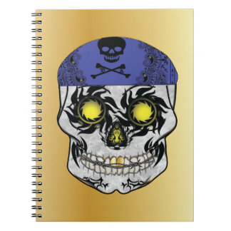 Gold Biker Candy Skull Notebook