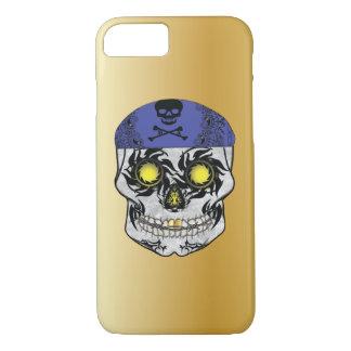 Gold Biker Candy Skull Phone Case