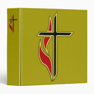 GOLD BINDER WITH CROSS AND FLAME