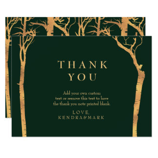 Gold Birch Tree Thank You Cards