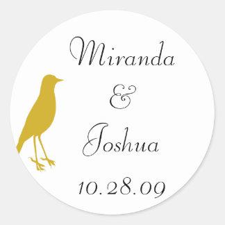 gold bird round sticker