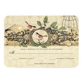Gold Birdcage Damask Acorn Vintage Love Birds RSVP Card
