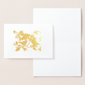 Gold Birds and Blossoms Card
