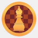 Gold Bishop Chess Piece Round Sticker