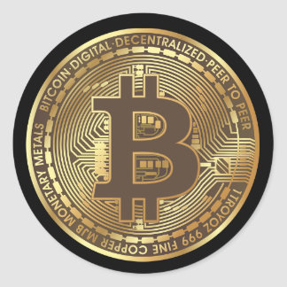Gold Bitcoin Cryptocurrency Money Stickers