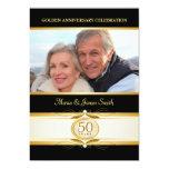 """Gold Black 50th Anniversary Monogram Invitations 5"""" X 7"""" Invitation Card"""