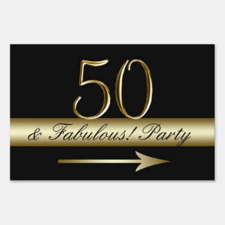 Gold Black 50th Birthday Party Sign