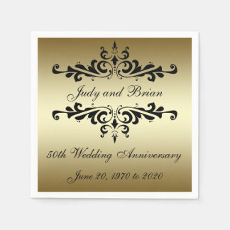 Gold Black 50th Wedding Anniversary Paper Napkins