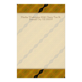Gold Black and Olive Striped Modern Abstract Custom Stationery