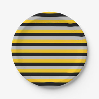 Gold, Black and Silver Stripes 7 Inch Paper Plate