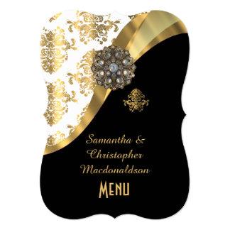 "Gold, black and white damask wedding menu 5"" x 7"" invitation card"