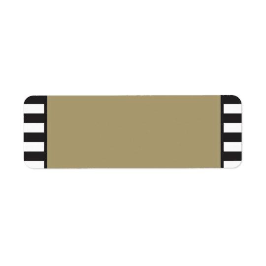 Gold - Black and White Stripes - Return Address