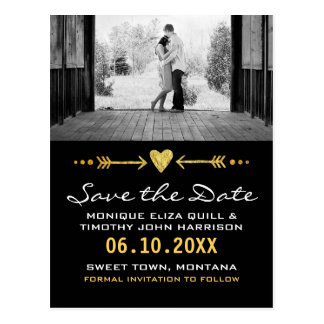 Gold Black Arrows Wedding Heart Card Save the Date Postcard