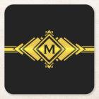 Gold & Black Art Deco Belt Monogram Square Paper Coaster