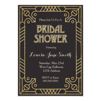 Gold Black Art Deco Bridal Shower Invitation