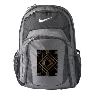 gold, black,art deco, metallic,pattern,vintage,chi backpack