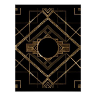 gold, black,art deco, metallic,pattern,vintage,chi poster