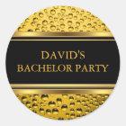 Gold & Black Beer Bachelor Party Sticker