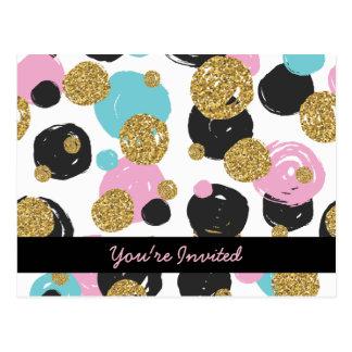 Gold Black Blue Pink Glam Dots Postcard