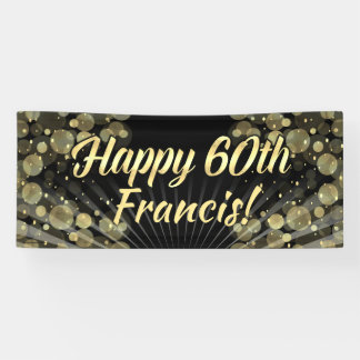 Gold/Black Bokeh 60th Birthday Party Banner