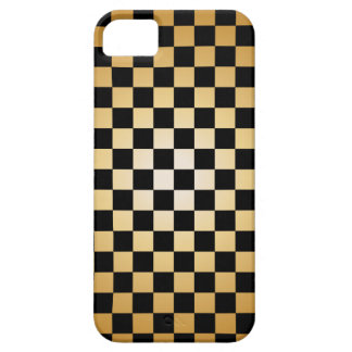 Gold & Black Checkered Grid iPhone 5 Case