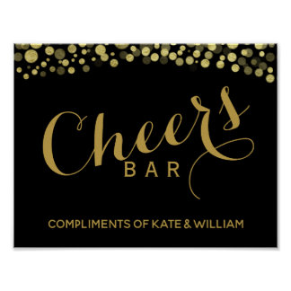 GOLD & Black CHEER Bar wedding or party sign