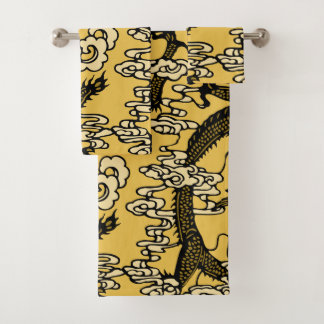 Gold Black Chinese Dragon Pattern Bath Towel Set