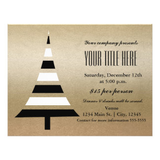 Gold & Black Christmas Tree Holiday Party Flyer