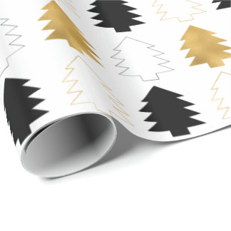 Gold Black Christmas Trees Wrapping Paper