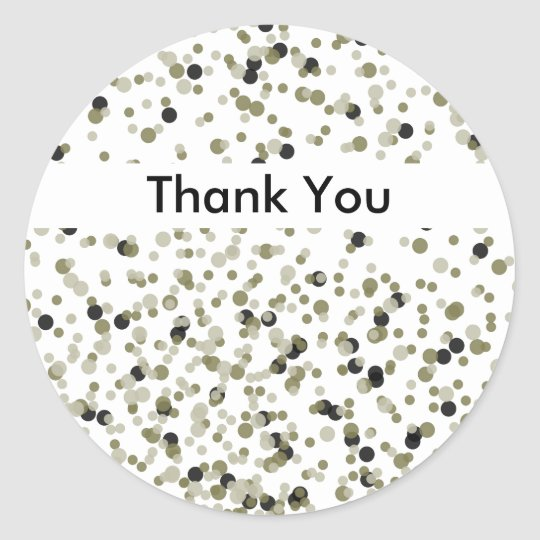 Gold Black Confetti Dots thank you Classic Round Sticker
