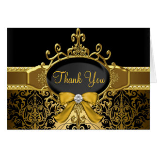 Gold Black Damask 50th Anniversary Thank You Card