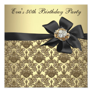 "Gold Black Damask 50th Birthday Party 5.25"" Square Invitation Card"