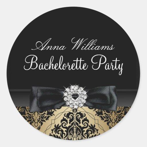 Gold & Black Damask Bachelorette Party Sticker