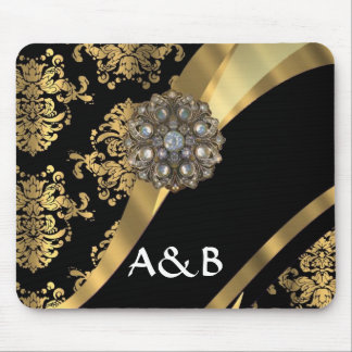 Gold & black damask pattern mouse pad
