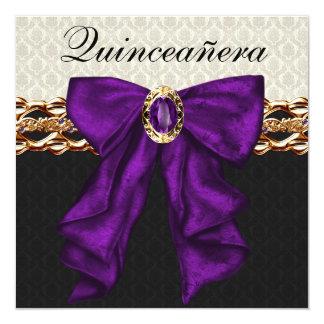 """Gold Black Damask Purple  Quinceanera 5.25"""" Square Invitation Card"""