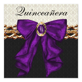 Gold Black Damask Purple  Quinceanera Card